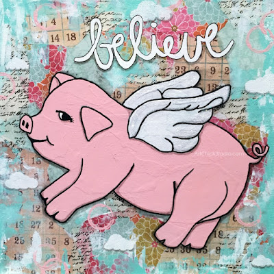 Believe Pig Mixed Media