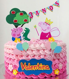 Peppa Pig Birthday Free Printable Cake Toppers.