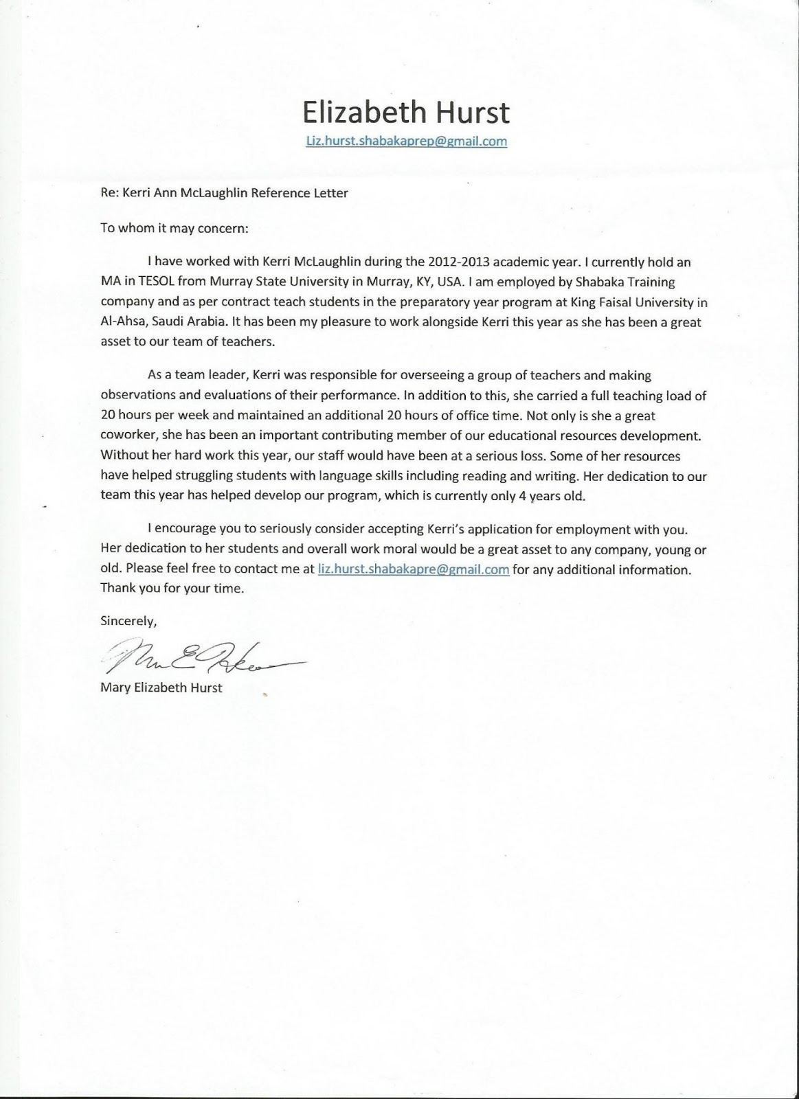 Sample Letter of Recommendation for a Coworker