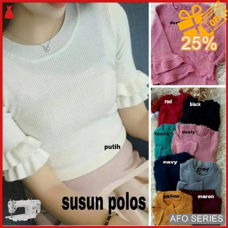 AFO265 Model Fashion Knit Susun Polos Modis Murah BMGShop