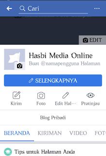 Menu edit halaman di beranda fanspage facebook