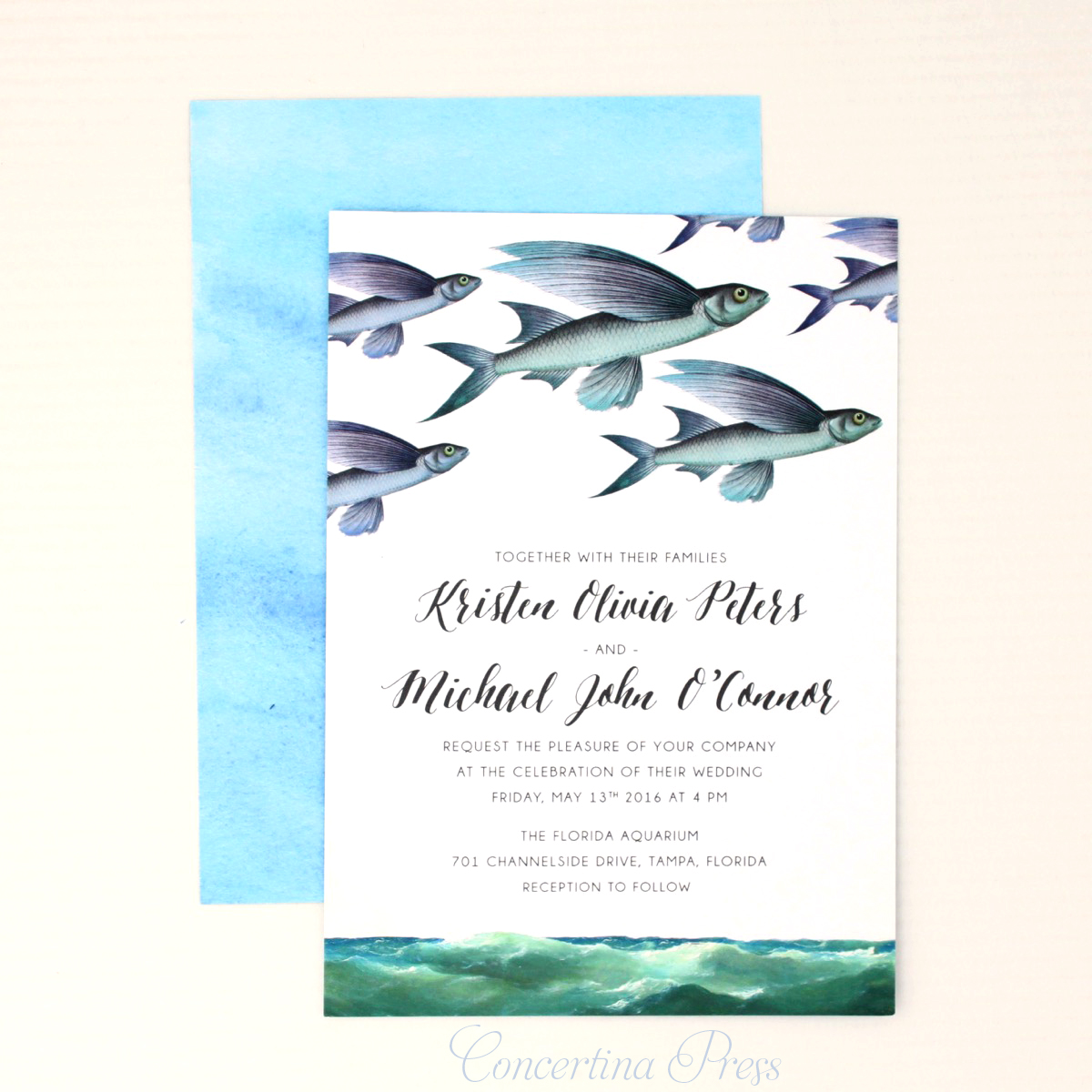 Boho Beach Wedding Invitations with Flying Fish from Concertina Press