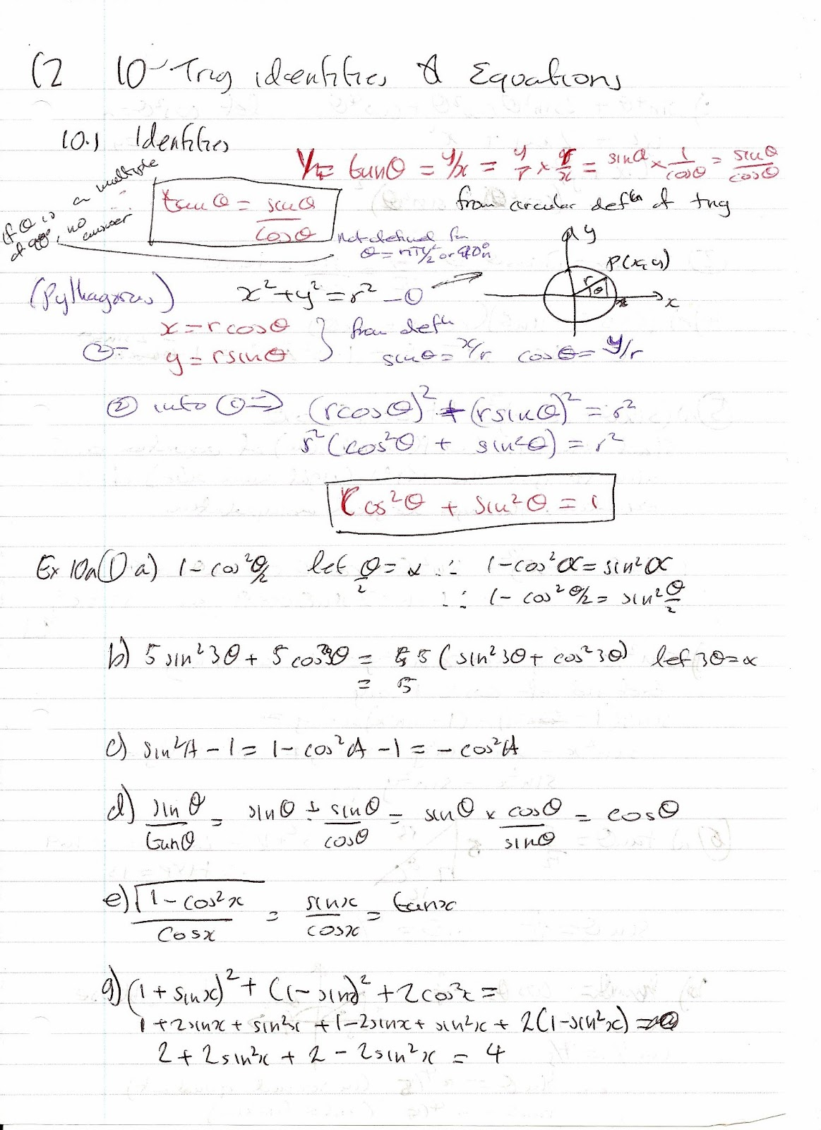 A Level Maths Notes Edexcel C2 10 Trigonometric Identities And Equations