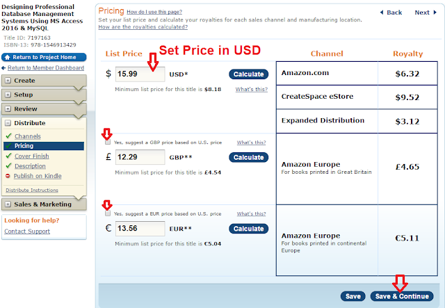 Screenshot: Set a price for your book