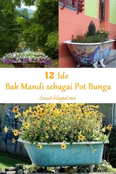 Daur ulang bak mandi bekas jadi pot tanaman