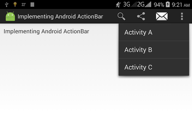 Android Action Bar Tutorial and Example With Option Menu