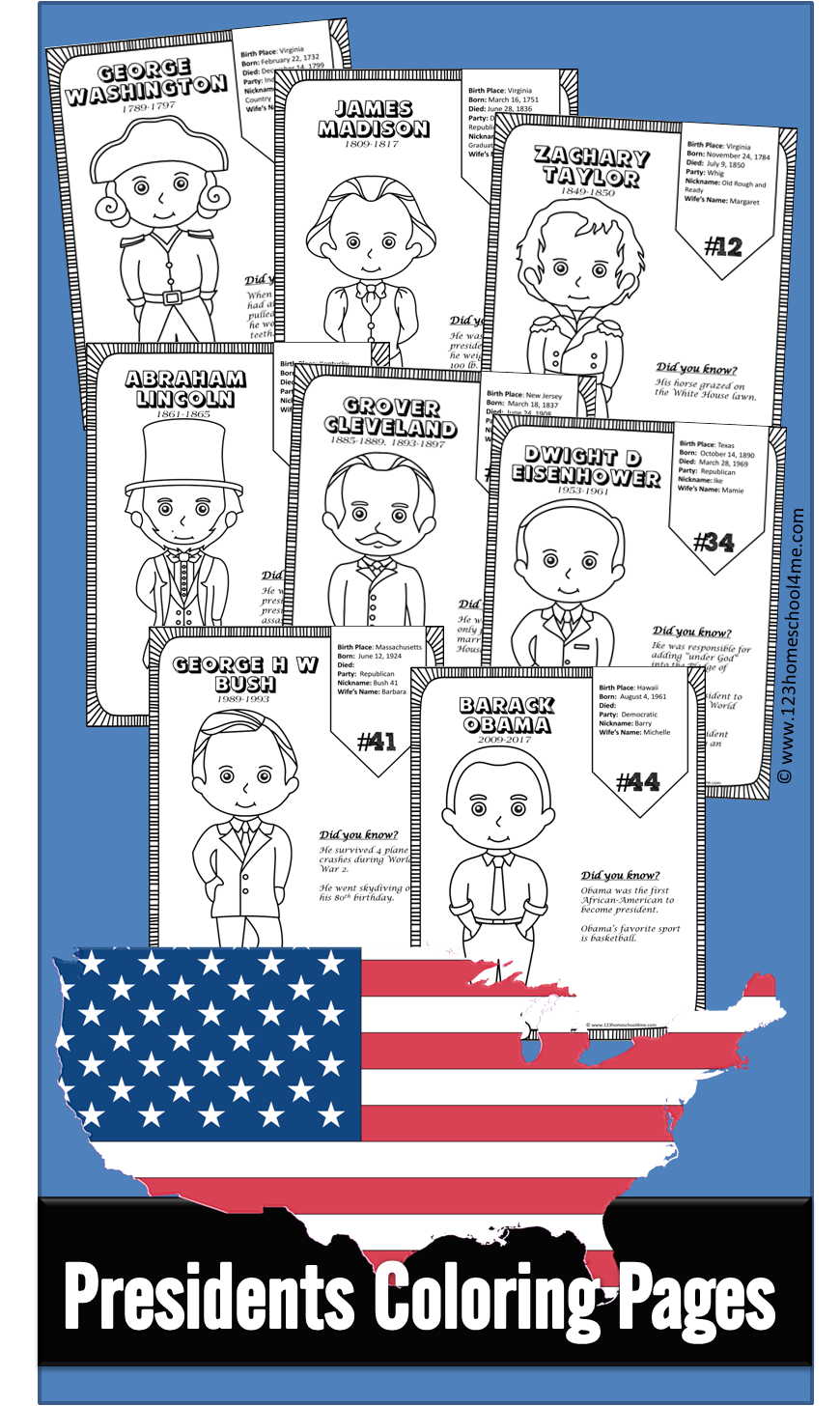 Kindergarten Worksheets and Games: FREE Presidents Coloring Pages
