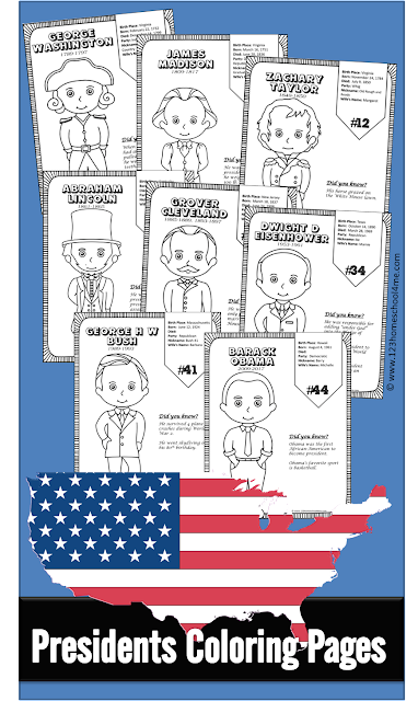 Free US Presidents for Kids - These us presidents for kids free printable include a coloring page for each of the 45 US Presidents with some interesting facts on each page. This is such a fun preschool, first grade, 2nd grade, 3rd grade, 4th grade, and kindergarten worksheet. Perfect for a US Presidents for Kids Lesson Plan for Presidents day, election day, 4th of July, history, summer learning, homeschoolers, and more! #uspresidents #presidentesday #coloringsheets #coloringpages #ushistoryforkids #kindergarten #freeworksheets #worksheetsforkids #kindergartenworksheetsandgames