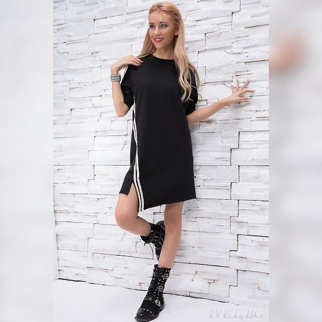 Ασύμμετρο μαύρο φόρεμα MILITZA