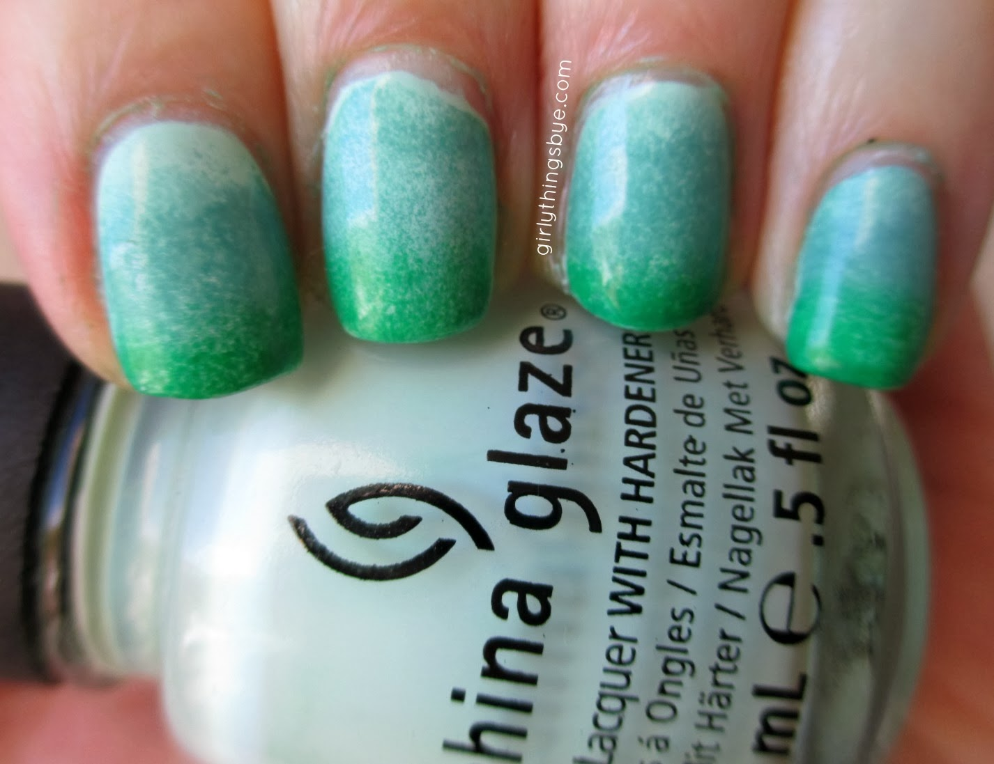 China Glaze Refreshmint, Julep Daphne, Revlon Posh nail polish, Ombre nails, @girlythingsby_e