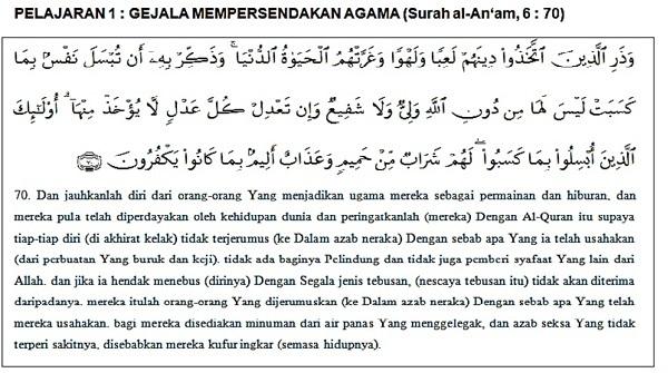 8 CONTOH PERBUATAN MEMPERSENDAKAN AGAMA ISLAM