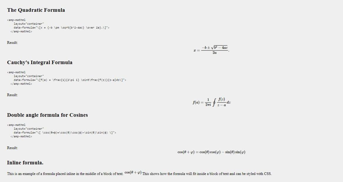 Penulisan Rumus Matematika Di Blog AMP Dengan MathML