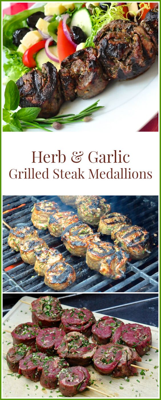 Herb and Garlic Rolled Steak Medallions. An economical way to serve grilled steak which includes a delicious method for infusing herb and garlic flavours into the meat.
