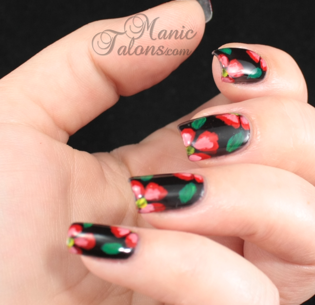 Manic Talons Nail Design: Not One Stroke Flower Nail Art
