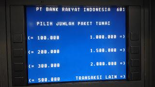 Pilihan Jumlah Uang yang akan diambil di ATM BRI