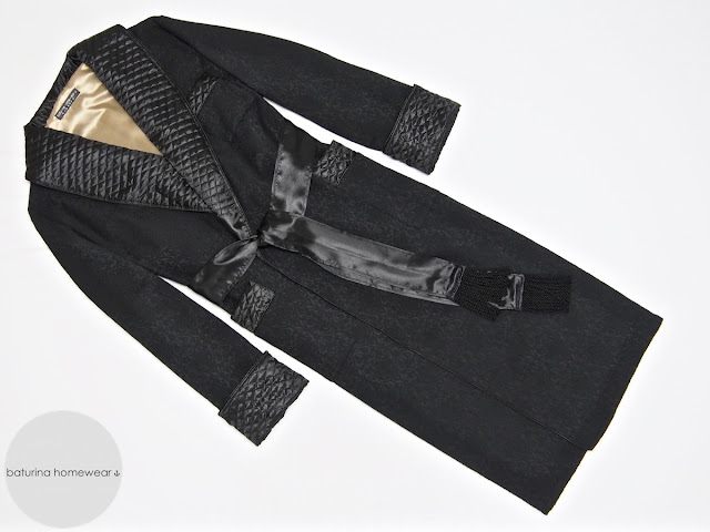 Men's black gold quilted silk dressing gown long paisley robe gentleman vintage style victorian