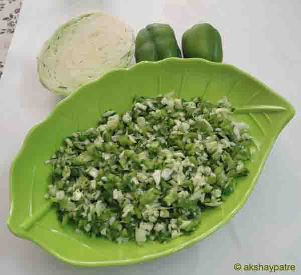Cabbage capsicum salad ready to serve