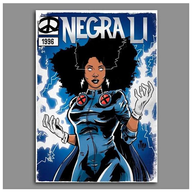 Negra Li é retratada como  Ororo Munroe, a Tempestade dos X-Men.