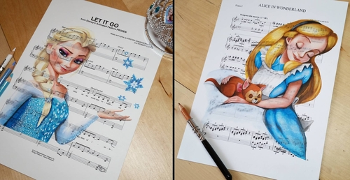 00-Ursula-Doughty-Animated-Movies-Drawn-on-their-Music-Scores-www-designstack-co