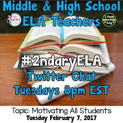Join secondary English Language Arts teachers Tuesday evenings at 8 pm EST on Twitter. This week's chat will be about motivating students and dealing with difficult behavior.