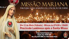 Imagem peregrina de Nossa Senhora de Fátima será conduzida em procissão, em Salvador (BA)