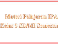 Materi Pelajaran IPA Kelas 3 SD/MI Semester 2