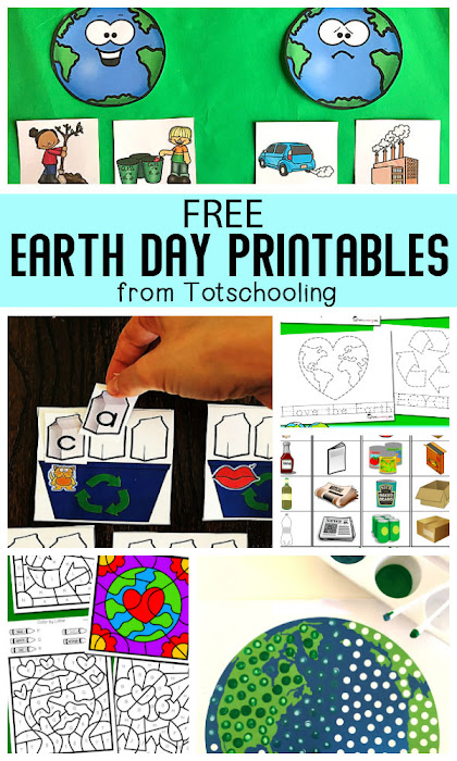 A collection of over 20 free educational Earth Day printables for toddlers, preschool, pre-k and kindergarten kids!