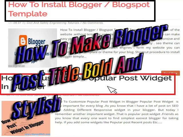 Make Blogger Post Title Bold And Stylish