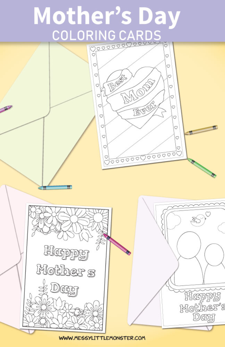 image about Happy Mothers Day Printable Cards referred to as Printable Moms Working day Playing cards in direction of Colour - Messy Very little Monster