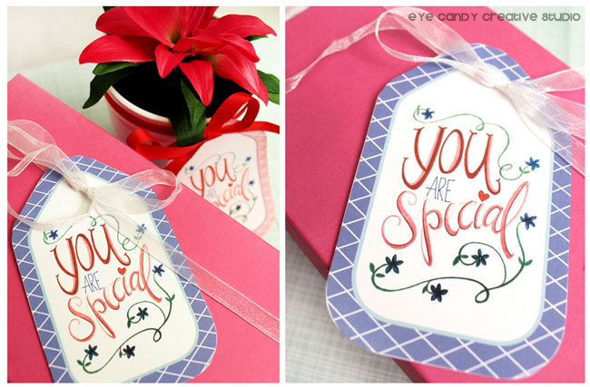 free spring gift tags, hand lettering, flower pot, gift ideas, gift giving