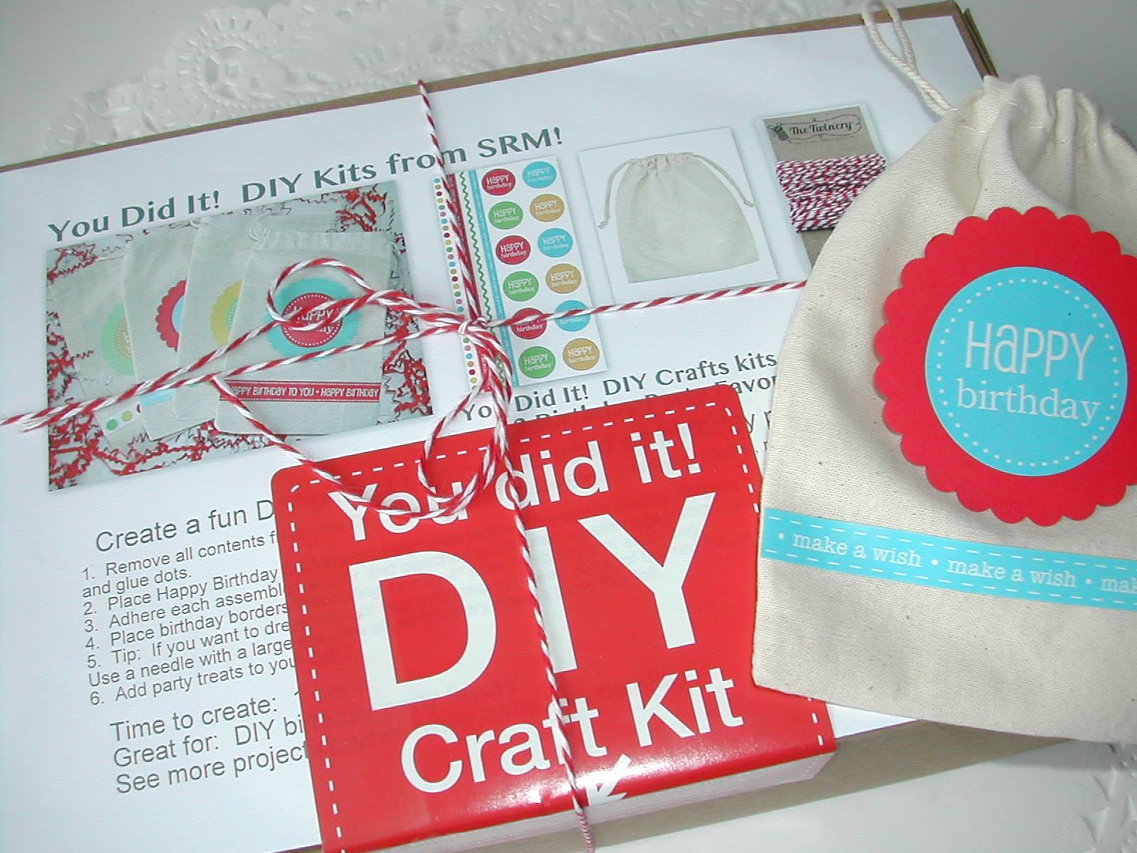 SRM Stickers Blog - DIY Birthday Kit by Shelly  #birthday #favors  #DIY #kit #muslin #bags  #stickers