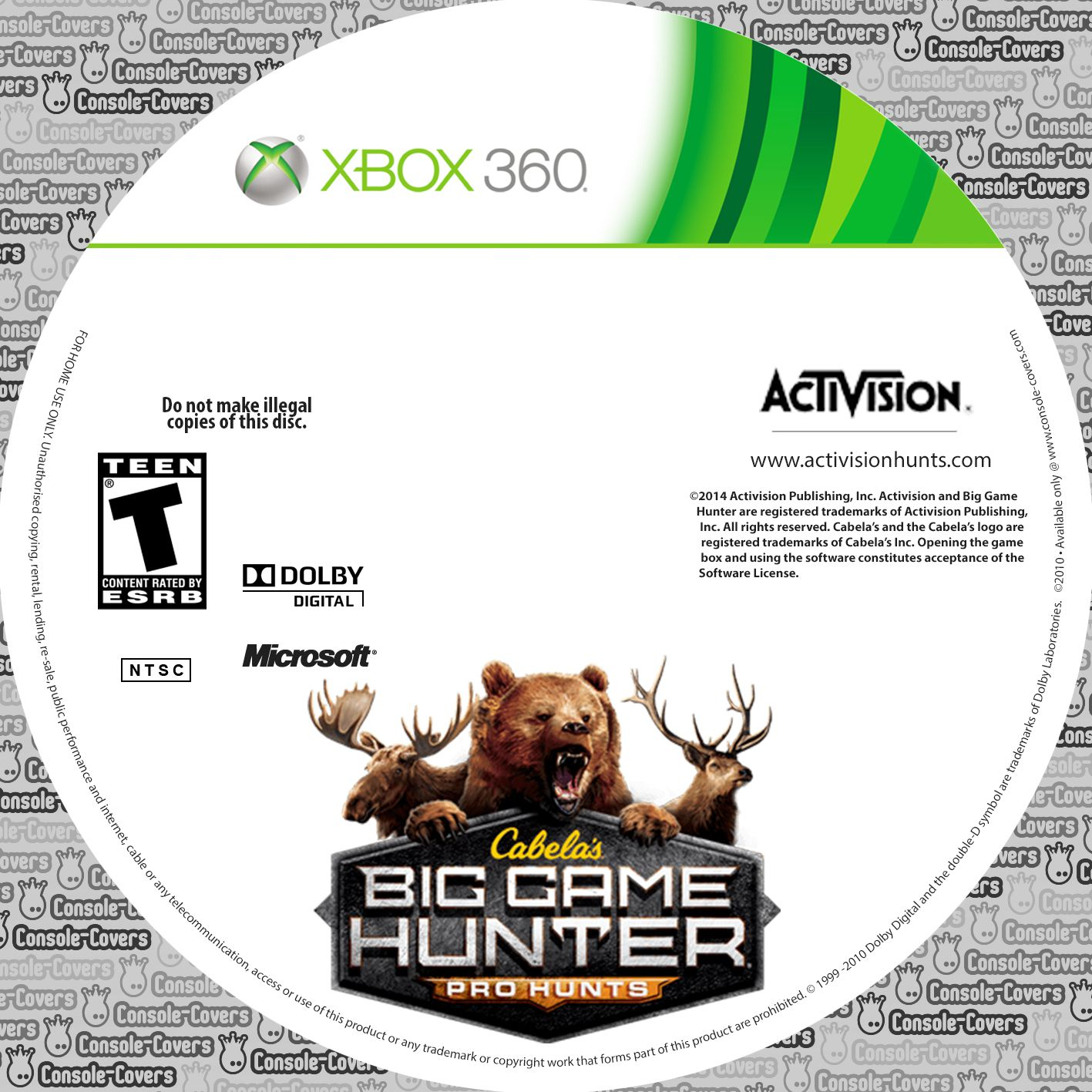Label Cabelas Big Game Hunter Pro Hunting Xbox 360