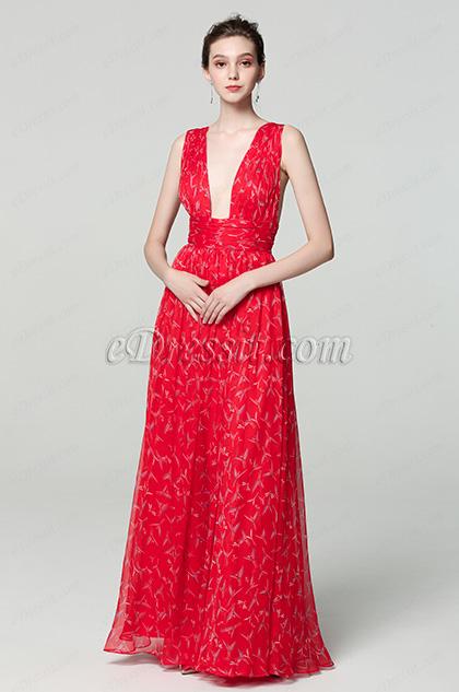 sexy plunging v cut print ball dress