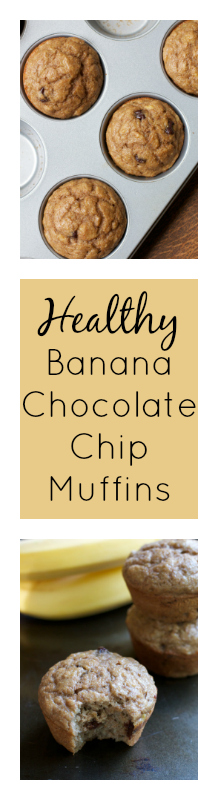 Healthy Banana Chocolate Chip Muffins || A Less Processed Life