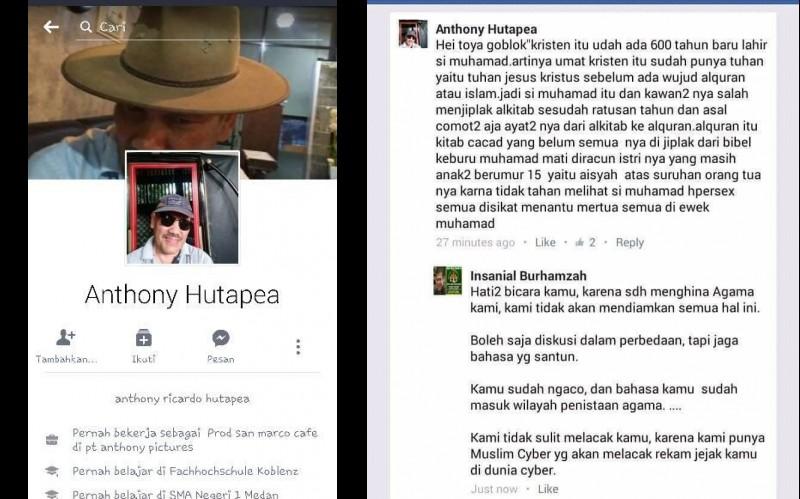Status FB Anthony Hutapea yang menghina Islam