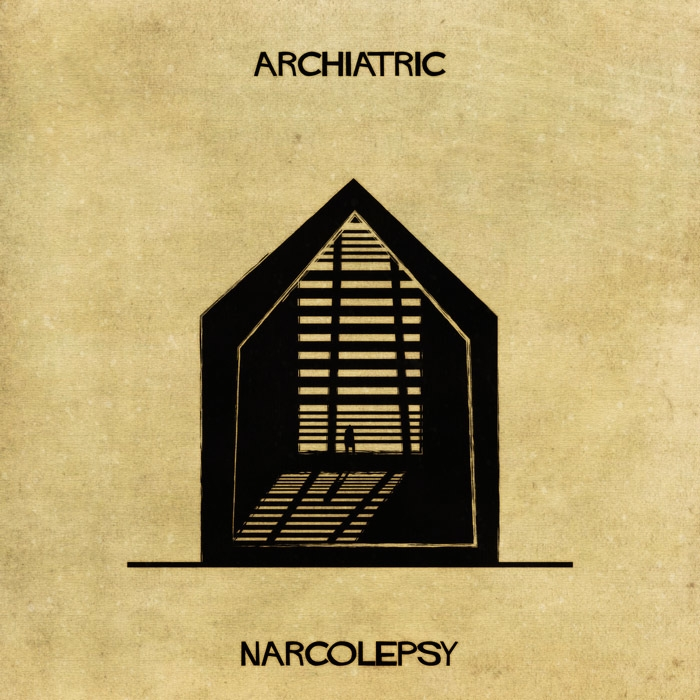 13-Narcolepsy-Federico-Babina-ARCHIATRIC-Mental-Health-Illustrations-Paired-with-Architecture-www-designstack-co