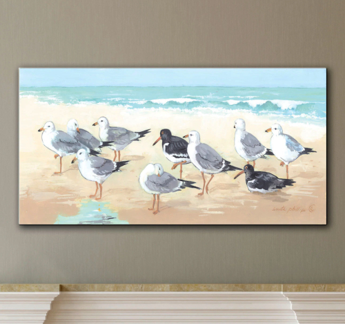 Flock of Seagulls Painting Canvas Wall Art