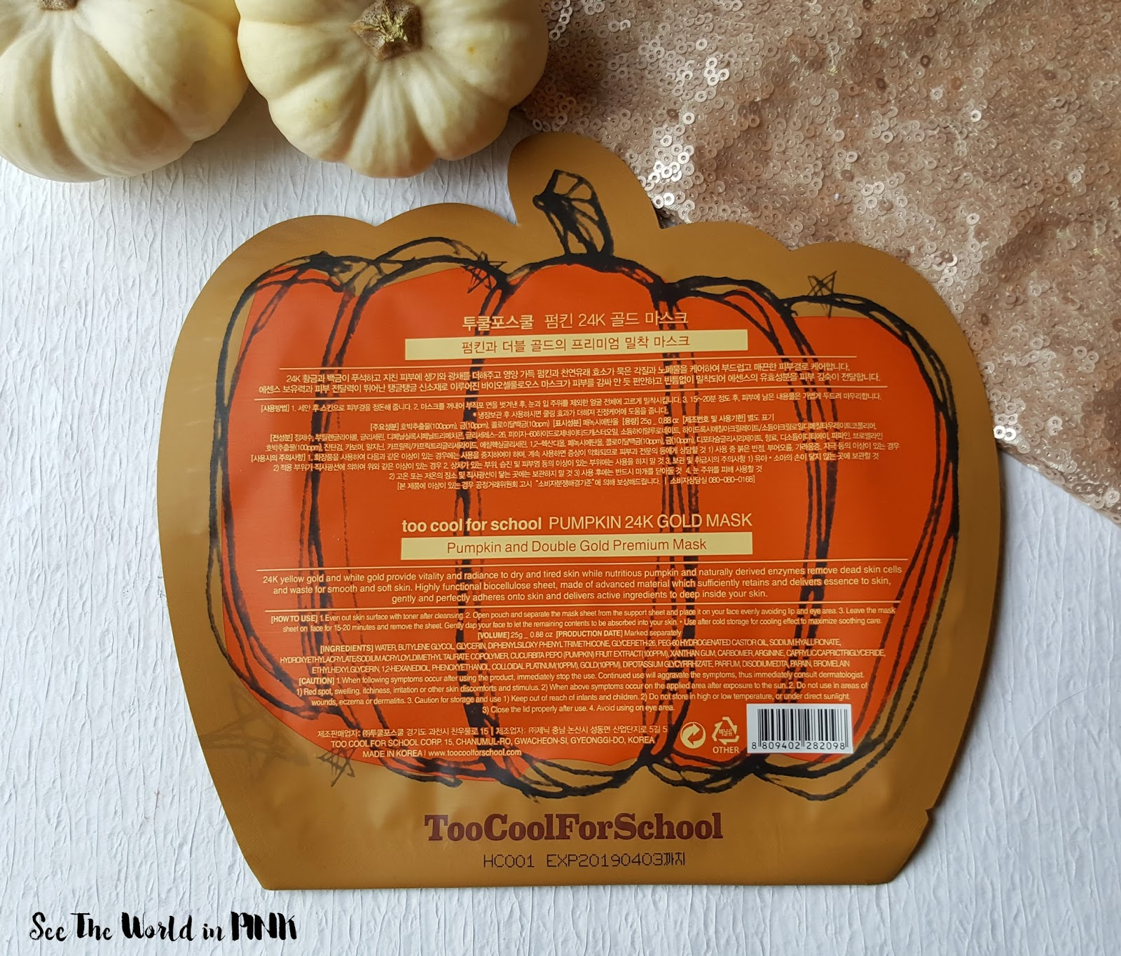 Mask Thursday - Too Cool For School Pumpkin 24k Gold Sheet Mask Review