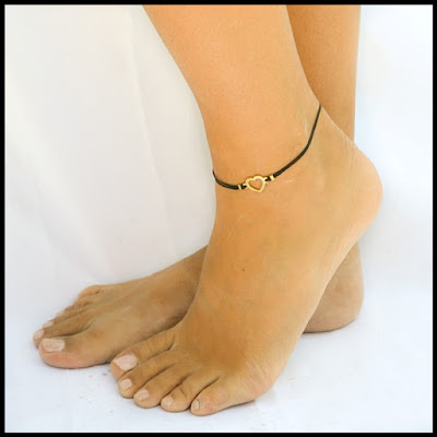 Black Anklet with Cute Heart anklet