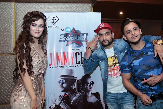 Singer Priyanka Goyat with Rapper Fazilpuria at the launch of the Jimmy Choo song 2)