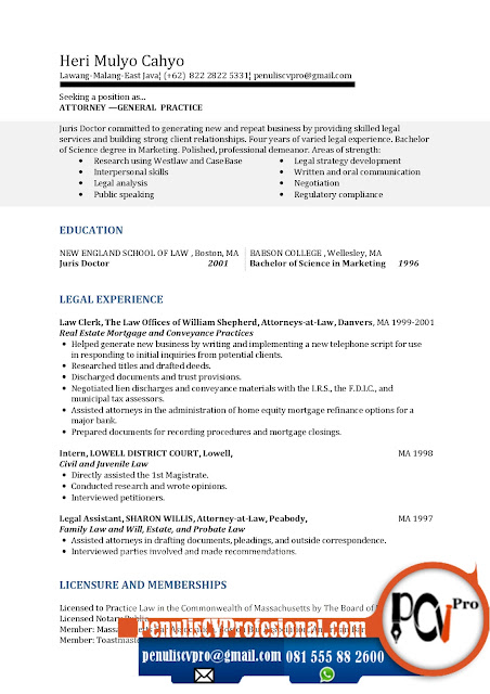 Contoh Curriculum Vitae Bahasa Inggri Fresh Graduate Sarjana Hukum