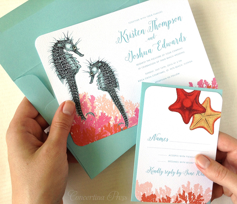 Seahorse Wedding Invitation Set with Starfish RSVP cards - Aquarium Wedding Ideas