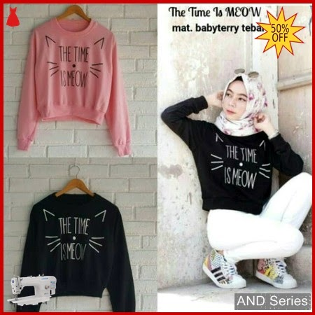 AND041 Sweater Wanita The Time Is Meow BMGShop