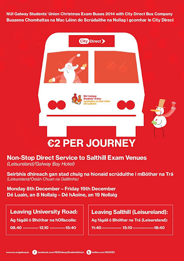 University to Leisureland - direct bus 8-19 December - €2 per journey.