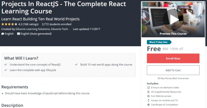100% Off] Projects In ReactJS - The Complete React Learning