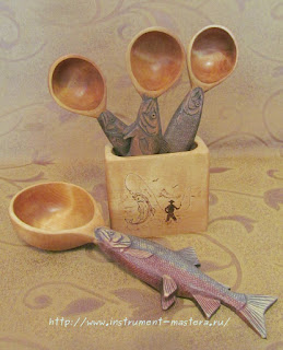 Набор деревянных ложек в подарок рыбаку с Кольского полуострова