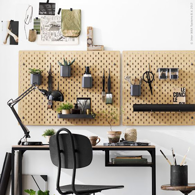 Organised home office wall / IKEA • the round button blog