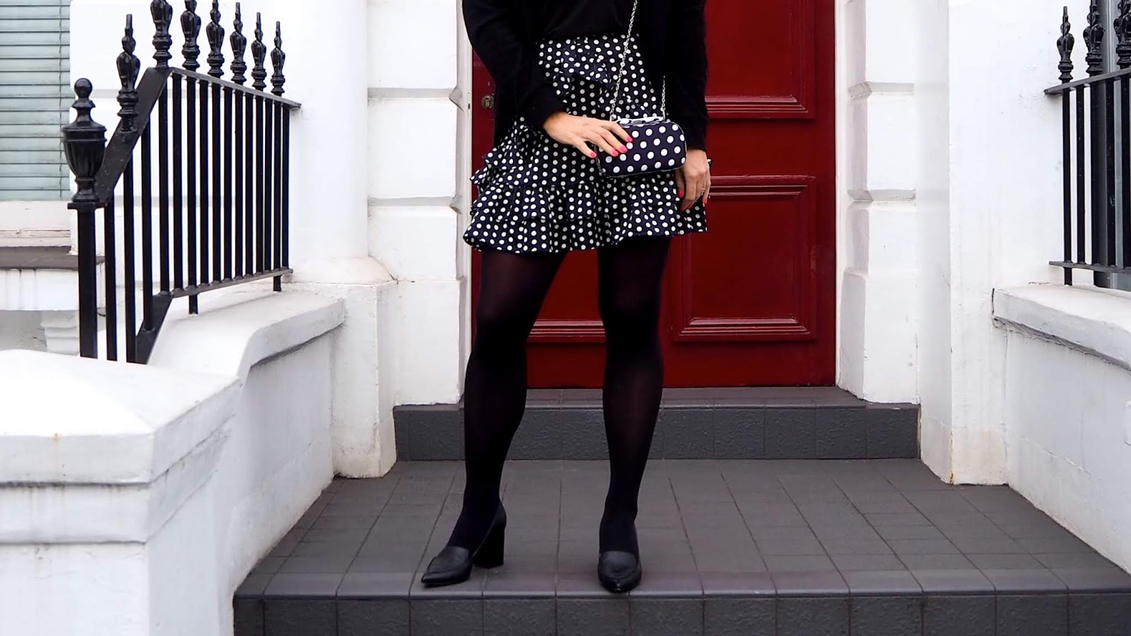 Missguided Mini Skirt With Frill Detail in Black Polka Dot