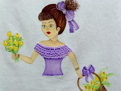pintura em tecido boneca com cesta de flores para colocar saia de croche