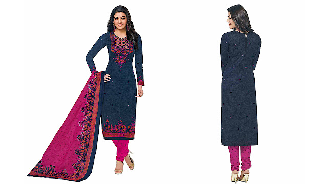 ceba04247a Miraan Women's Cotton Printed Unstitched Churidar Suit Dress Material(SGPRI601_Blue_Free  Size)